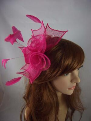 Fuchsia Hot Pink Rose Comb Fascinator with Feathers - Ascot Wedding Races