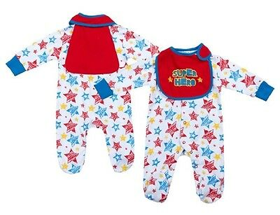 Baby Boys Super Hero Outfit Age 3 6 Months Star Sleepsuit Red Cape Bib Set NEW