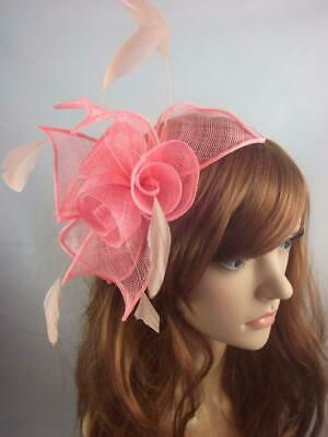 Coral Pink Rose Comb Fascinator with Feathers - Ascot Wedding Races