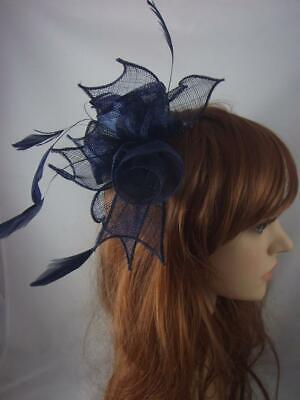 Navy Blue Rose Comb Fascinator with Feathers - Ascot Wedding Races