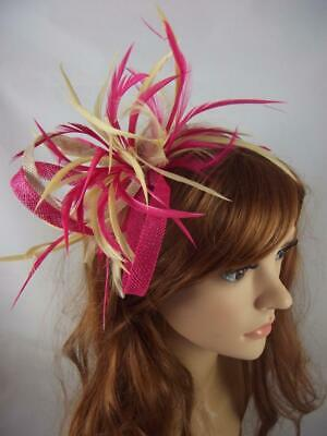 Fuchsia & Beige Feather Spray & Sinamay Comb Fascinator - Ascot Wedding Races