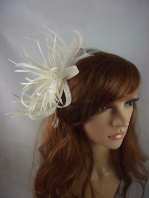 Ivory Cream Feather Spray & Sinamay Comb Fascinator - Ascot Wedding Races