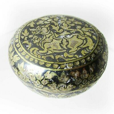 Burmese Silver lidded box decorated with a Chinthe Lion