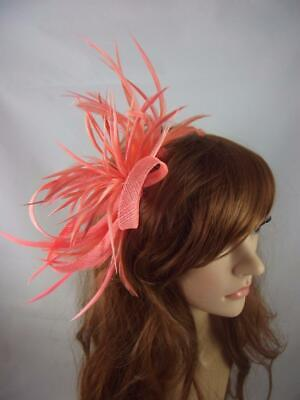 Coral Pink Feather Spray & Sinamay Comb Fascinator - Ascot Wedding Races