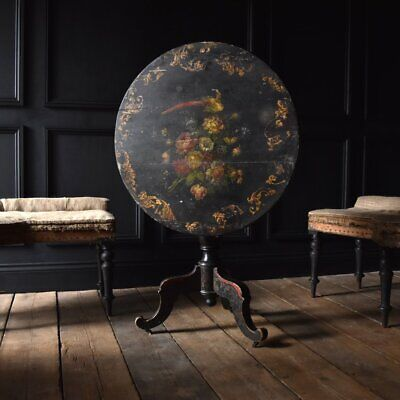 Charming 19th Century French Jappaned Tilt Top Table.