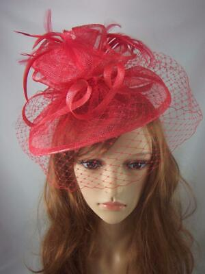 Red Sinamay Fascinator With Birdcage Veil - Ascot Wedding Races