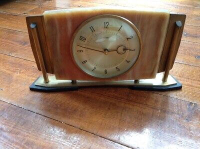 Metamec 70s Art Deco Style Onyx Marble Mantel Clock - Working - Battery
