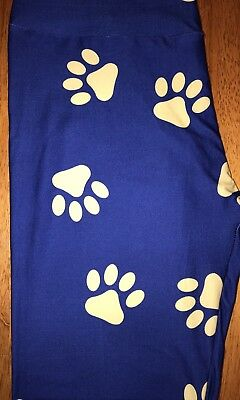 Dog Puppy Paw Prints Light Blue Yoga One Size Leggings OS Buttery Soft FREE SHIP
