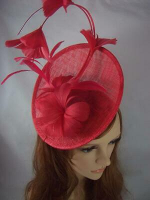 Red Statement Curve Saucer Fascinator With Feather Flowers - Ascot Wedding Races