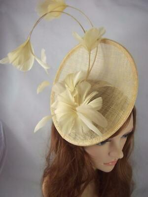 Gold Statement Curve Saucer Fascinator & Feather Flowers - Ascot Wedding Races