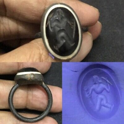Antique Sassanian Black Onyx Agate old King intaglio Stone Lovely Ring #64