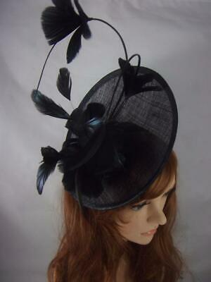 Black Statement Curve Saucer Fascinator & Feather Flowers - Ascot Wedding Races
