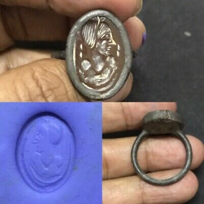 Ancient Sassanian Silver Head Seal intaglio Old Ring Red Agate Carnelian #19