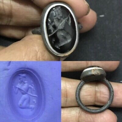 Antique Sassanian Black Onyx Agate old King intaglio Stone Lovely Ring #61