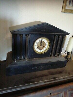 Victorian Black Slate Mantle Clock