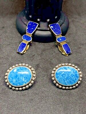 2 PAIRS OF VINTAGE sterling silver earrings lapis and turquoise