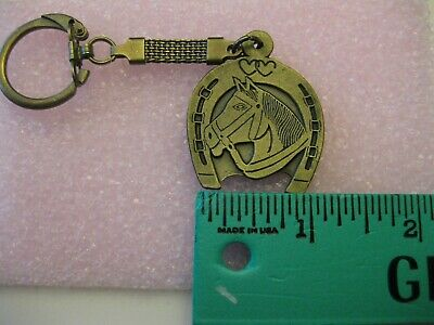 Vintage Lucky Horseshoe With Horse Head Key Ring Brass Finish New