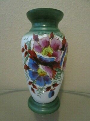 Beautiful Vintage Hand Painted Opaque Glass Vase Oriental Floral
