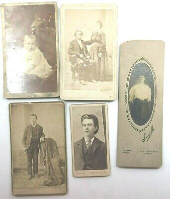 Vintage Cabinet Photographs, Lot Of 5, 1 Iowa, 1 N Y, Variety Of Sizes, Adults