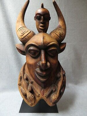 African Vintage Handcarved Mask With Lizards & Horns, Cameroon, With Stand