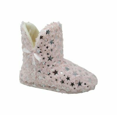 Womens Ladies Slip On Warm Fluffy Fleece Fur Lined Slippers Ankle Boots Booties