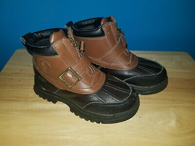 Boys Toddler Polo Ralph Lauren Leather Rubber Boots Size 11.5