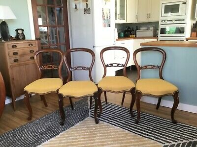 Set of Four Rosewood Victorian Cabriole Leg Dining Chairs