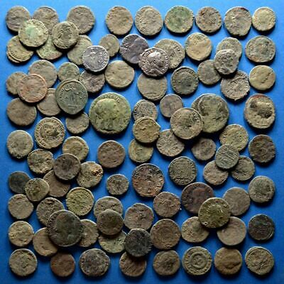 Lot of 100 AE1 AE2 AE3 AE4 Size Uncleaned Roman Coins