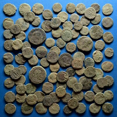 Lot of 100 AE1 AE2 AE3 AE4 Size Uncleaned Low Quality Roman Coins #1
