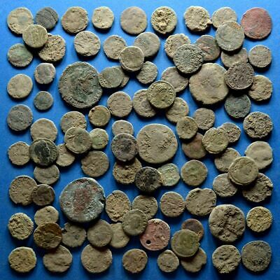 Lot of 100 AE1 AE2 AE3 AE4 Size Uncleaned Low Quality Roman Coins #4