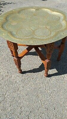 Antique Banares Carved Brass Topped Fold Up Table