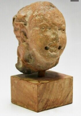 Ancient Stone Terracotta Bust Mounted On Wooden Plinth