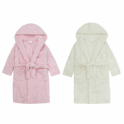 Girls Sparkle Robe Hooded Snuggle Fleece Bath Robe Novelty Dressing Gown 2-13Yrs