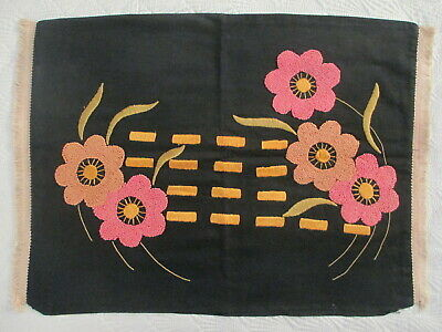 Vintage Antique Mission Arts & Crafts Embroidered Fabric Linen Pillow Case Cover