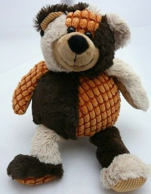 Patchwork peluche ours fourrure/velours marron orange beige  37 cm