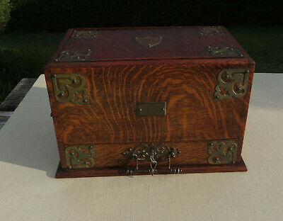 A Decorative Oak & Brass Gothic Victorian Mechanical Stationery Box Rd 272810