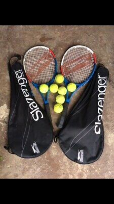 Slazenger Tennis Rackets Pair Two 2 With Balls And Carry Cases