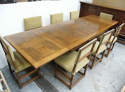 Oak draw leaf trestle table tudor style 8 chairs sideboard carved solid antique