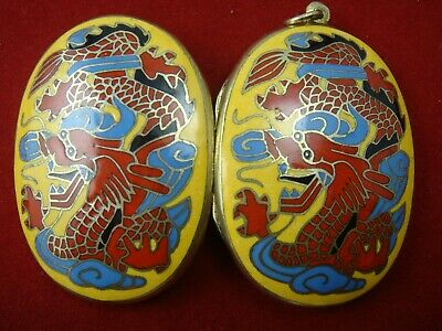 Vintage 2 Sided Chinese Brass Cloisonne Dragon Yellow Red Blue Locket Pendant