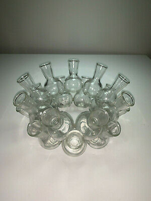 "Glass Cluster Ring of 18 Mini Attached Bud Vases Circle 7"" in Diameter"