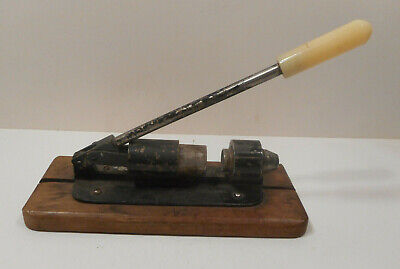 Antique Vintage Metal Handled Nut Cracker on Wood Base
