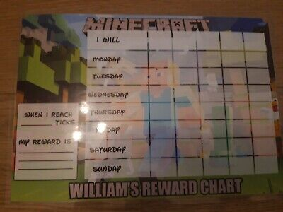 Re-usable Minecraft Behaviour Reward Chart