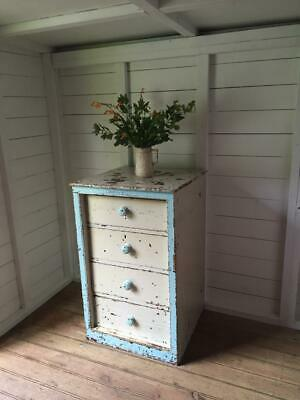 Antique Victorian Distressed Blue  White Painted Chest of Four Drawers Del Extra
