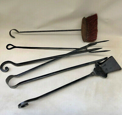 Vintage French Set Of Heavy Wrought Iron Real Fire Tools In Black
