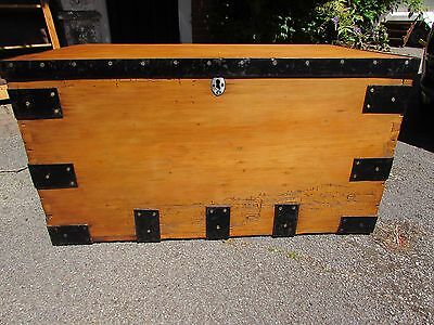 Large Antique Victorian Pine trunk chest coffee table storage wax finish