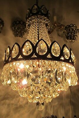 Antique Vnt French  french basket style Crystal Chandelier Lamp 1940's 14in Dmtr