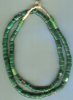 African Trade beads Vintage Venetian old glass 4 layer green chevrons