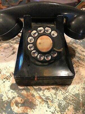 Vintage Black Old Rotary  DIAL TELEPHONE*  Western Electric? Antique
