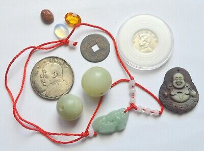 China Lot Old Coins Cash Dollar Shikai Jade 20 Cents Coin Beads Gemstones
