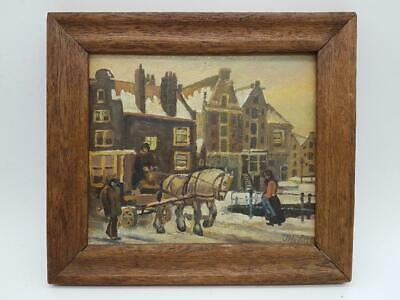 Antique impressionistic Dutch School painting oil on panel winter cityscape city
